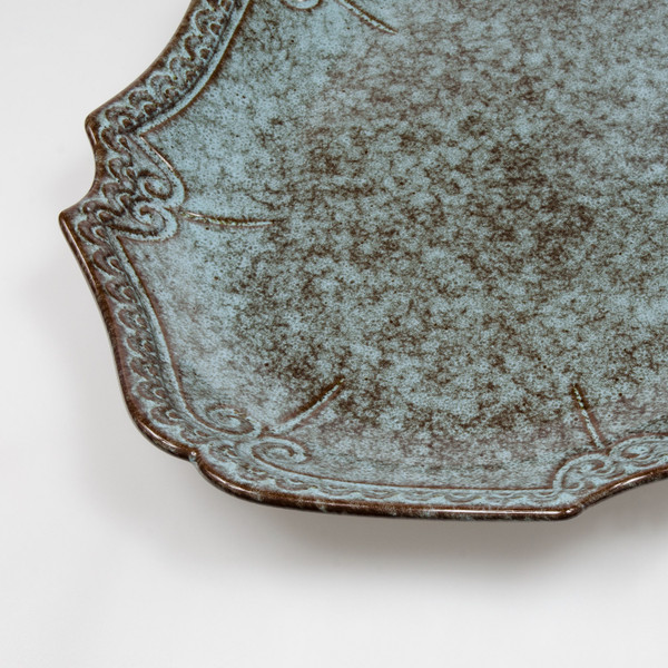 Image of Dark Cerulean Blue Oval Plate 3