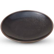 Yuzu Tenmoku Black Round Plate
