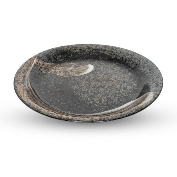 Image of Black Mottled Brush Stroked Round Plate