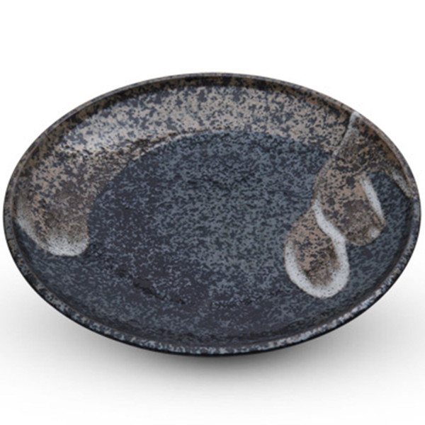 Image of Black Mottled with Brush Stroke Round Plate 1