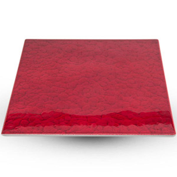 Image of Urushi Lacquered Red Square Plate - Medium 1