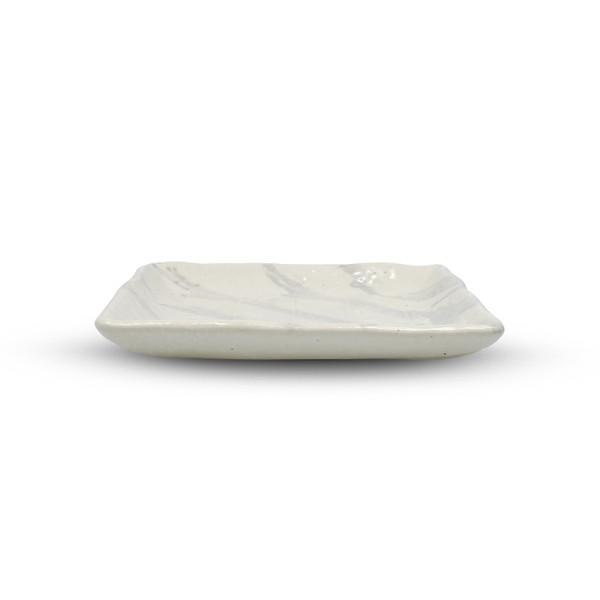 Image of Hasu White Striped Square Plate 2