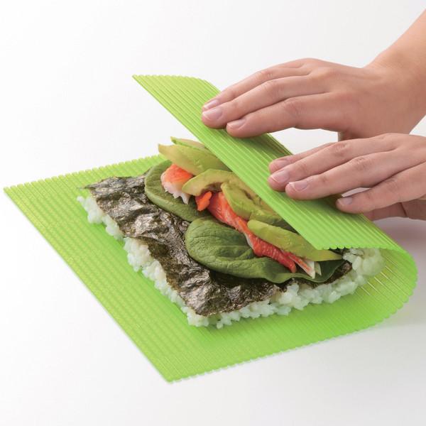 Image of Sushi Land Plastic Green Sushi Rolling Mat (Makisu) 2