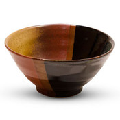 Akebono Tenmoku Black and Amber Rice Bowl