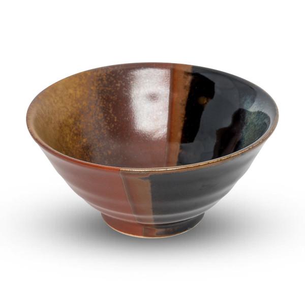 Image of Akebono Tenmoku Black and Amber Rice Bowl