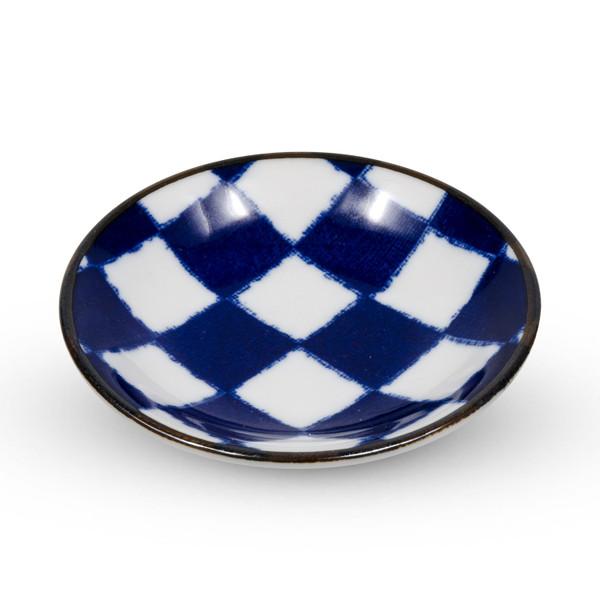 Image of Checker Blue Sauce Dish 1