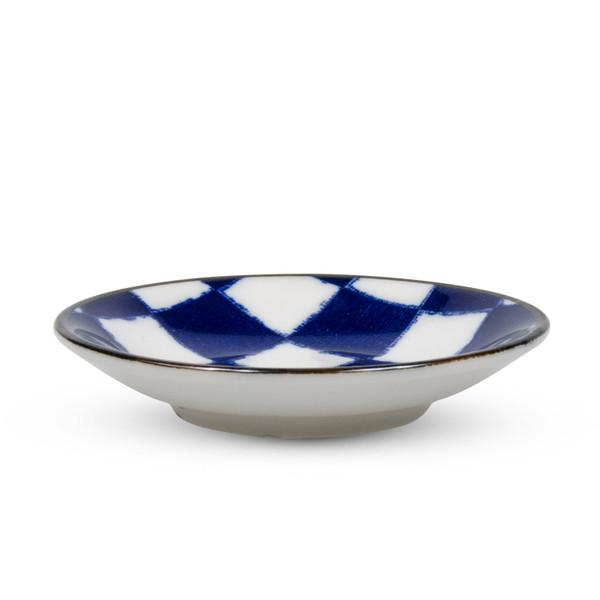 Image of Checker Blue Sauce Dish 2