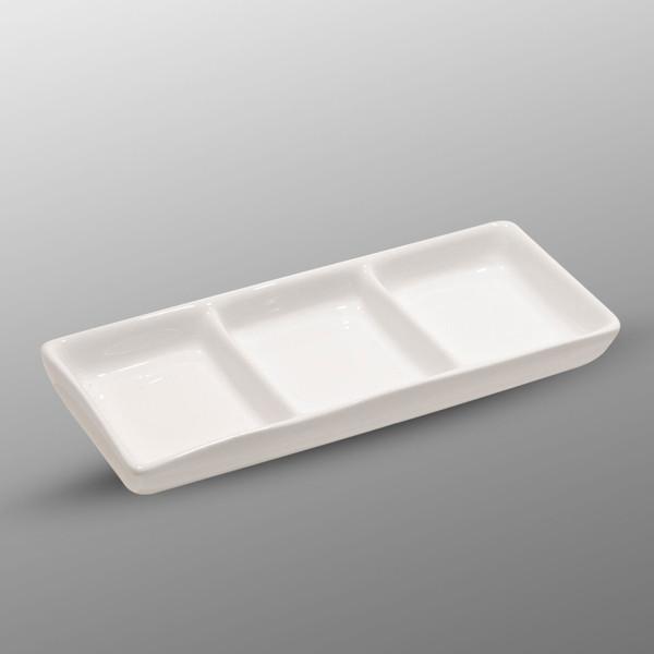 Image of Korin Durable White Triple Sauce Dish