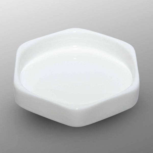 Image of Korin Durable White Hexagonal Sauce Dish 1
