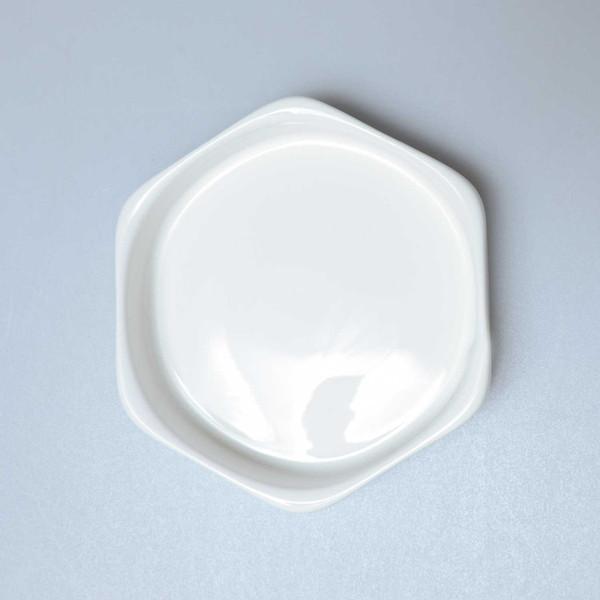 Image of Korin Durable White Hexagonal Sauce Dish 2
