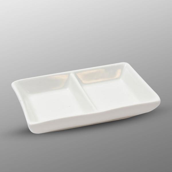 Image of Korin Durable White Rectangular Two Divided Sauce Dish