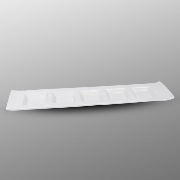 Image of Korin Durable White 5 Divide Sauce Plate