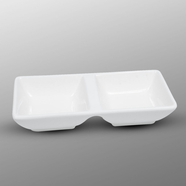 Image of Korin Durable White Rectangular Double Sauce Dish 1