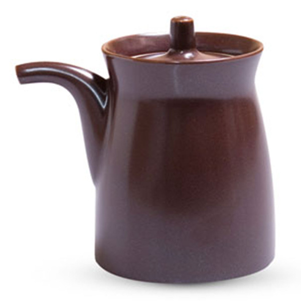 Image of Matte Brown Porcelain Sauce Pot