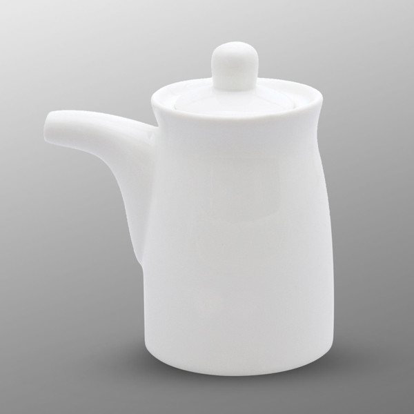 Image of Korin Durable White Sauce Dispenser with Silicone Lid 1