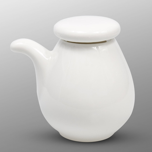 Image of Korin Durable White Round Sauce Pot with Silicone Lid 1