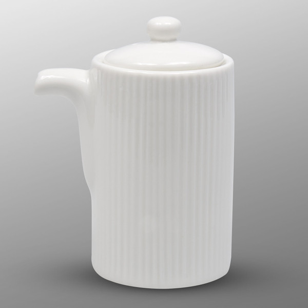 Image of Korin Durable White Tall Sauce Pot with Silicone Lid 1