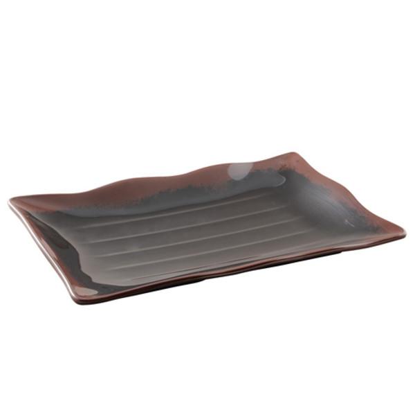 Image of Temoku Melamine Plastic Wave Sashimi Tempura Plate (Price By DZ)