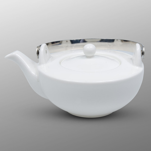 Image of Korin Durable White Flat Teapot 1