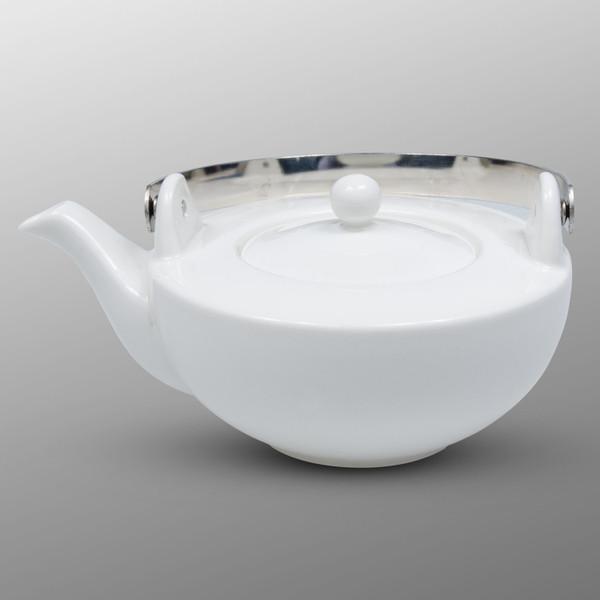 Image of Korin Durable White Flat Teapot 1