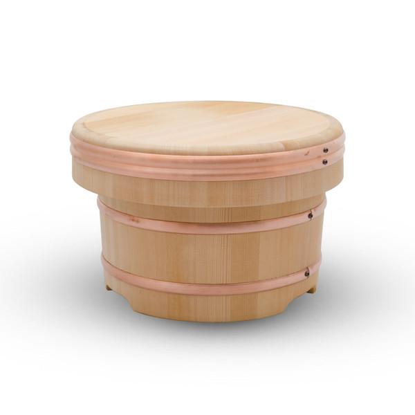 Image of Cypress Wooden Edobitsu Rice Jar - 27cm 1