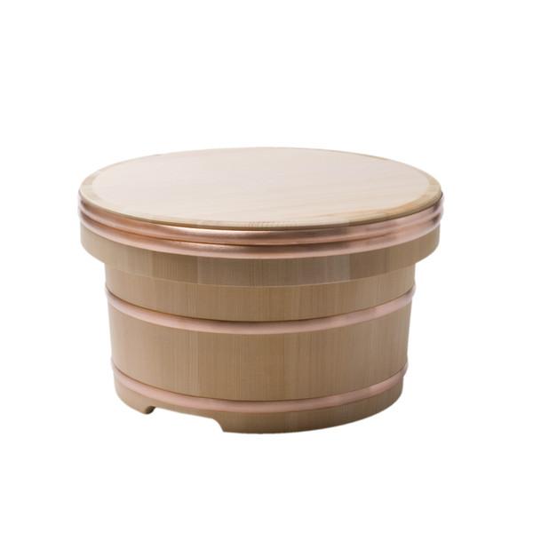 Image of Cypress Wooden Edobitsu Rice Jar - 33cm