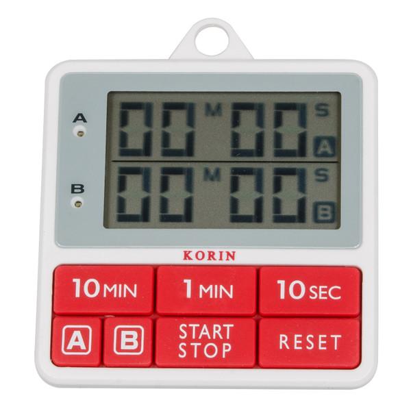 Image of Korin Dual Kitchen Timer (Red) 1