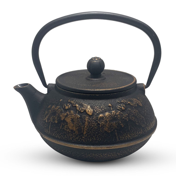 Image of Gold and Black Cast Iron Teapot