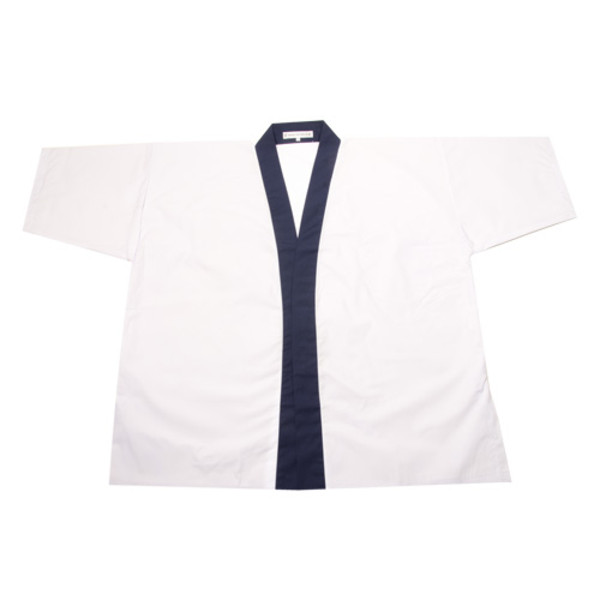 Image of White Sushi Chef Coat with Blue Collar - Medium