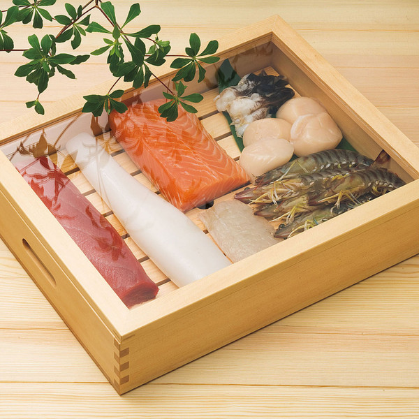 Image of Wooden Sushi Neta Case with Cover 2