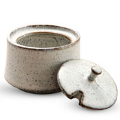 White Speckled Mustard Pot