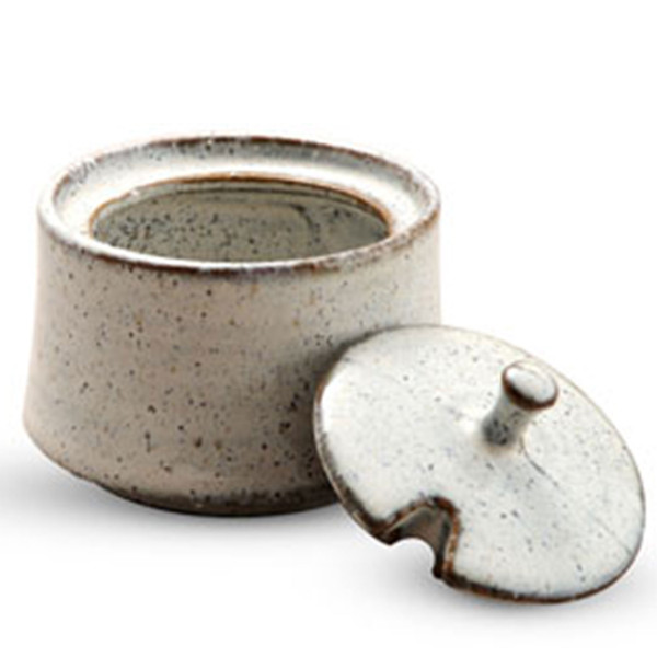Image of White Speckled Mustard Pot