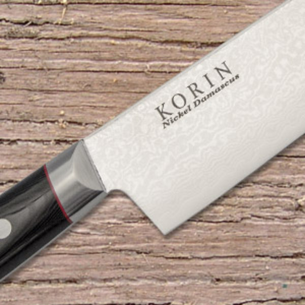 Korin Nickel Damascus with Black Micarta Handle