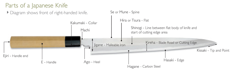 Parts of a Japanese Knife